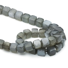 Grey Moonstone Faceted Puffed Cube Beads, 6-10mm