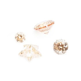 Champagne Coloured Cubic Zirconia Faceted Stone, Approx 2.5mm Round