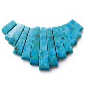 Turquoise Tapered Gemstone Bead Set with 13 Pieces
