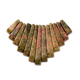 Unakite Tapered Gemstone Bead Set with 13 Pieces