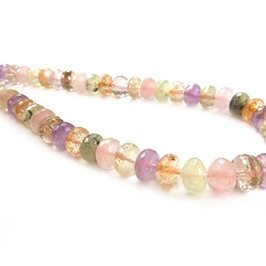 Multi Quartz Faceted Rondelle Beads Approx 10x6mm