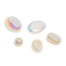 Iridescent White Window Drusy Cabochons
