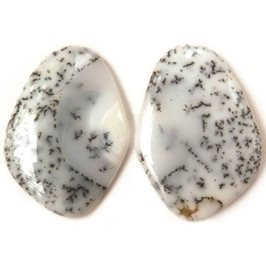 Pair Of Dendrite Opal Freeform Cabochons 30x21mm