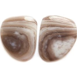 Pair of Botswana Agate Freeform Cabochons 20x20mm