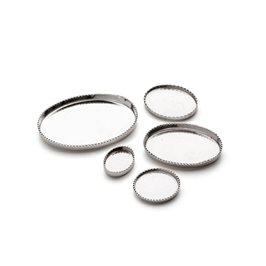 Sterling Silver Milled Edge Bezel Cups for Cabochon Stones