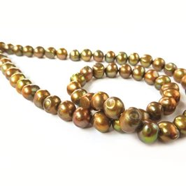 Cultured Freshwater Metallic Bronze Potato Pearls, Approx 6-8m