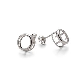 Sterling Silver Backset Earstud Settings For Faceted Stones (Pair)