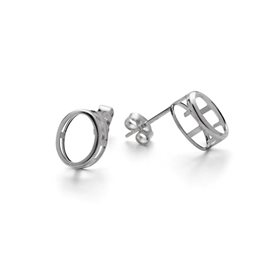 Sterling Silver Backset Earring Settings for 8x6mm Faceted Stones (Pair)