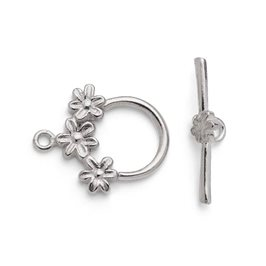 Sterling Silver Flower Toggle Clasp
