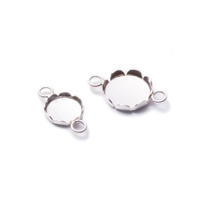 Sterling Silver Petal Edge Link Settings For Cabochon Stones
