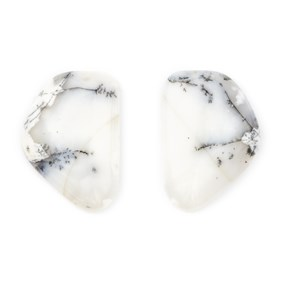 Pair Of Dendrite Opal Freeform Cabochons 27x18mm