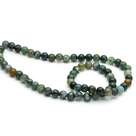 Green Moss Agate Round Beads
