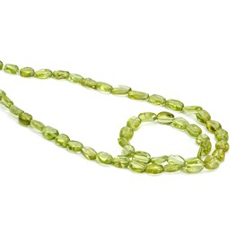 Peridot Flat Oval Nugget Beads