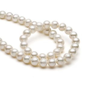 Cultured Freshwater White Pearls, 7-8mm Roundish