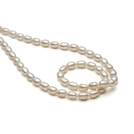 Cultured Freshwater White Rice Shaped Pearls, Approx 5-6.5mm x 6-9mm
