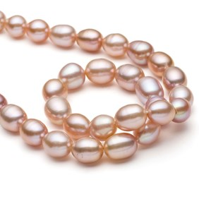 Cultured Freshwater Rice Shape Pink Pearls, Approx 11.5x9.5mm