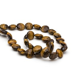 Golden Tigereye Faceted Coin Beads, 12mm