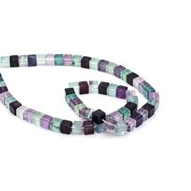 Rainbow Fluorite Cube Beads, 6-6.5mm