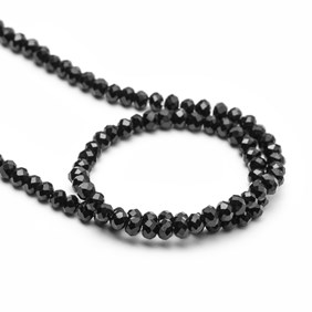 Black Onyx Faceted Rondelle Beads, 4x2mm