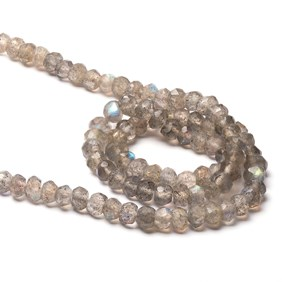 Labradorite Faceted Rondelle Beads, 4x2mm