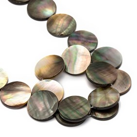 Black Lip Pearl Flat Coin Beads, Approx 20mm