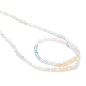 Multicoloured Aquamarine Faceted Rondelle Beads, Approx 2.5x1.5mm