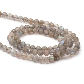 Labradorite Faceted Round Beads, Approx 3-5mm