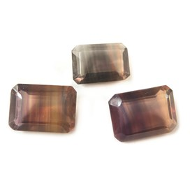 Multicolour Banded Fluorite 18x13mm Octagon Faceted Stones