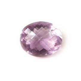 Pink/Purple Fluorite 16x13.5mm Oval Checkerboard Faceted Stone