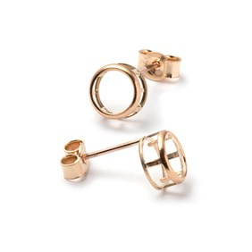 9ct Gold Backset Earstud Settings for 5mm Round Faceted Stones (Pair)