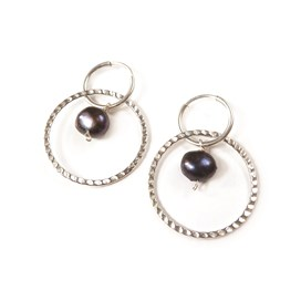 Peacock Pearl Hoop Earrings