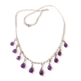 Delicate Amethyst Teardrop Necklace