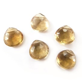 Cognac Quartz Faceted Heart Briolette Beads Approx 6x6mm, Pack Of 10 Beads.