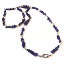 Lapis Chip Sterling Silver Necklace