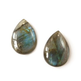 Pair of Labradorite Teardrops Head Drilled Front to Back 18x13mm