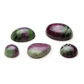 Ruby With Zoisite Cabochons, Approx 40x30mm Oval