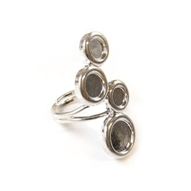 Silver Plated Adjustable Ring for Cabochon Stones