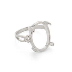 Sterling Silver Claw Ring for 18x13mm Oval Cabochon Stone