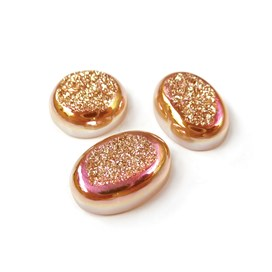 Sunset Blush Window Drusy Cabochons, 12mm Round