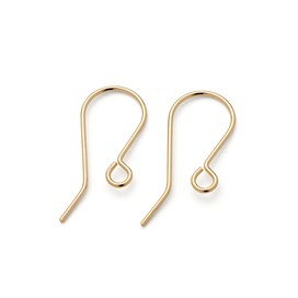 9ct Gold Plain Shepherds Crook Earwires (Pair)