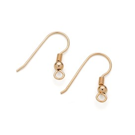 9ct Gold Shepherds Crook Earwires with Ball and Spring (Pair)