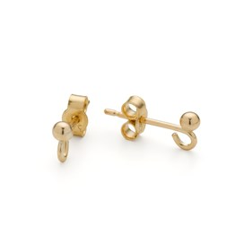 9ct Gold French Earstud with Ball & Loop (Pair)
