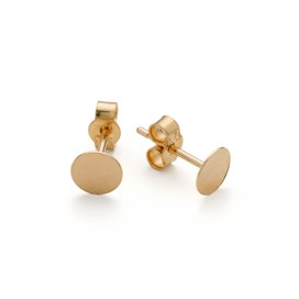 9ct Gold Earstuds with 5mm Flat Plate (Pair)