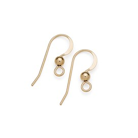 Gold Filled Shepherds Crook Earwires with Ball (Pair)