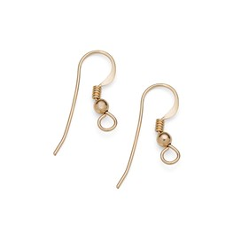 Gold Filled Shepherds Crook Earwire with Ball and Spring (Pair)