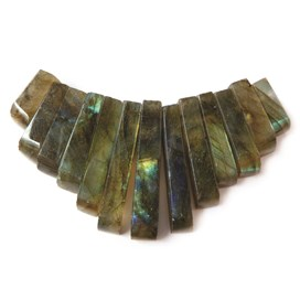 Labradorite Tapered Gemstone Bead Set with 13 Pieces