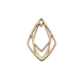 14ct Gold Vermeil Large Geometric Diamond Pendant Charm