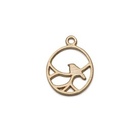 14ct Gold Vermeil Oval Nightingale Bird Pendant Charm