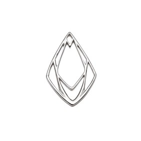 Sterling Silver Large Geometric Diamond Pendant Charm