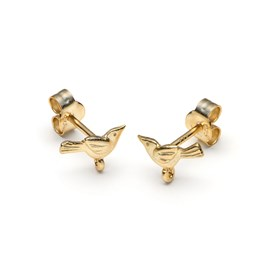 14ct Gold Vermeil Bird Earstuds with Loop (Pair)